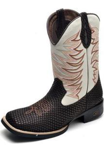 Bota Country Top Franca Shoes Bico Quadrado Masculina - Masculino-Café