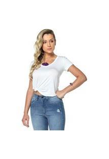 T-Shirt Daniela Cristina Gola V Profundo 09 Basica 602Dc10309 Branco