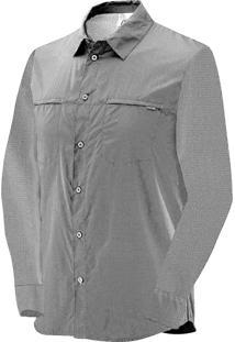 Camisa Manga Longa Salomon Strech Masculino G Cinza