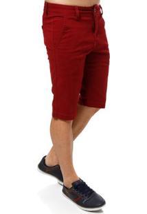 Bermuda Sarja Masculina Vermelho