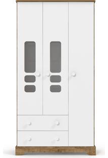 Roupeiro 3 Portas Smart Branco-Acetinado E Teka Matic Móveis