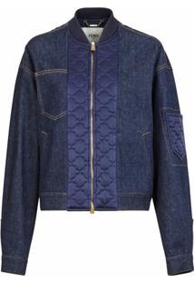 Fendi Jaqueta Jeans Com Detalhe Matelassê Em Cetim - Azul