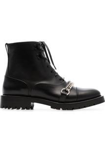Burberry Ankle Boot Com Cadarço E Corrente - Preto