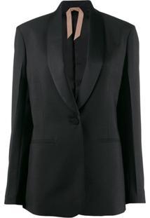 Nº21 Blazer Com Botão Único - Preto