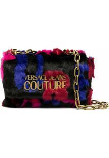 Versace Jeans Couture Bolsa Transversal Com Pelos - Preto