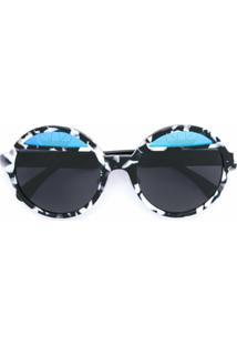 Italia Independent Óculos De Sol Armação Redonda - Preto