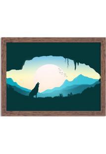 Quadro Decorativo Lobo Uivando Madeira - Grande