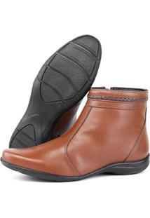 Ankle Boot Em Couro Sapatofran Creep Feminina - Feminino-Caramelo