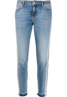 Escada Sport Calça Jeans Com Listras - Azul