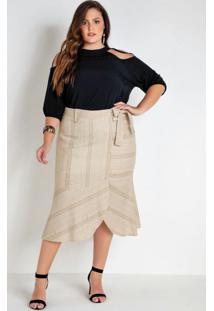 Blusa Plus Size Preta Com Ombros Vazados