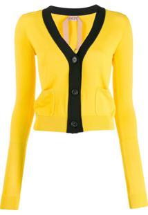 Nº21 Cardigan De Tricô Com Logo - Amarelo