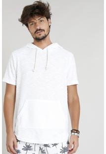 Camiseta Masculina Com Capuz E Bolso Canguru Manga Curta Off White