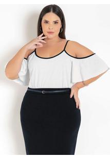 Blusa Branca Com Ombros Vazados Puls Size