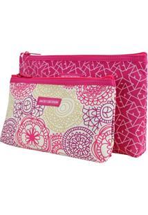 Necessaire Jacki Design Estampada Rosa