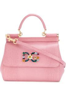 Dolce & Gabbana Bolsa Tote Sicily De Couro Com Aplicações - Rosa