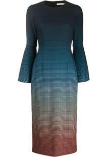 Mary Katrantzou Vestido Degradê Com Estampa Xadrez - Azul