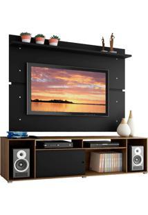 Rack Madesa Cancun E Painel Para Tv Até 65 Polegadas - Rustic/Preto/Preto Marrom