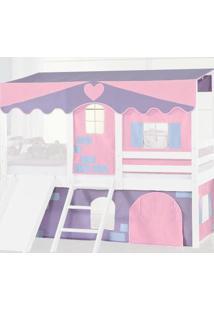 Cortina Tenda Casinha Rosa/Lilás Para Cama Infantil Camping Casatema