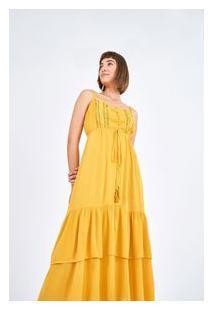 Vestido Detalhe Renda Amarelo Estrelar