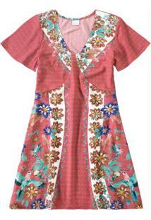 Vestido Rosê Floral Com Recortes