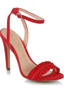 Sandália Em Camurça Vermelha Babados