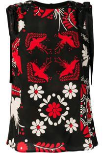 Red Valentino Blusa Com Estampa Floral - Preto