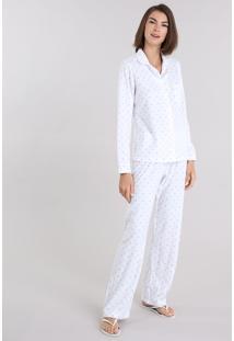 Pijama Em Fleece Estampado Poá Branco