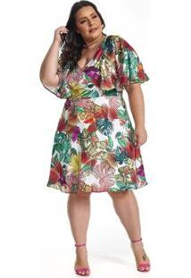 Vestido Lala Dubi Plus Size Midi Manga Godê - Feminino-Verde
