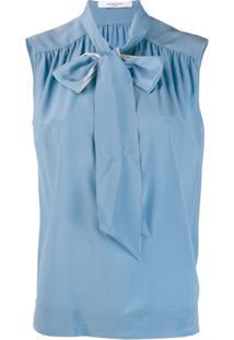 Givenchy Blusa Com Amarração Na Gola - Azul