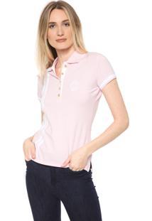 Camisa Polo Aleatory Patch Rosa/Branca