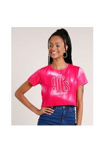 "Blusa Feminina Cropped 90'S"" Estampada Tie Dye Manga Curta Rosa"""