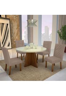 Mesa De Jantar Lisboa 100Cm Com Vidro Offwhite + 4 Cadeiras Lisboa Tecido 2028 - Amêndoa