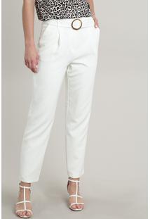 Calça Feminina Alfaiatada Com Cinto Off White