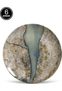 Conjunto 6Pçs Pratos Rasos Porto Brasil Coup Stone Bege/Cinza