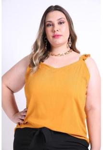 Regata Alça Franzida Kauê Plus Size Feminina - Feminino-Amarelo