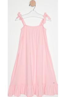 Vestido Liso Com Babados & Amarração- Rosa Claro- Guguess