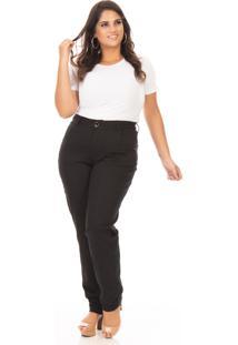 Calça Feminina Jeans Reta Cintura Alta Plus Size