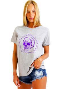 Camiseta Feminina Joss Poligono Roxo Cinza Mescla