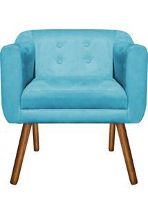 Poltrona Decorativa Julia Suede Azul Tiffany - D'Rossi