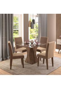 Conjunto De Mesa De Jantar Quadrada Andreia Com 4 Cadeiras Milena Suede Pluma E Marrocos