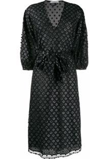 Roseanna Vestido Casual Perfurado Com Decote Em V - Preto