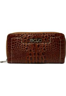 Carteira Em Couro Recuo Fashion Bag Croco Pinhão Telha