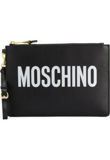 Moschino Logo Print Clutch - Preto