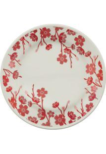 Prato De Sobremesa Oxford Donna Jardim Oriental Em Cerâmica Florido Vermelho E Branco 19Cm