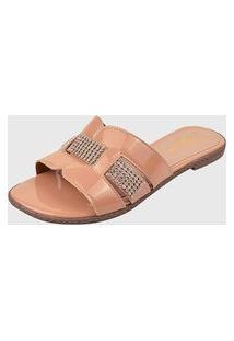 Sandália Rasteira Verniz Nude Elegance Calçados Ref:R040