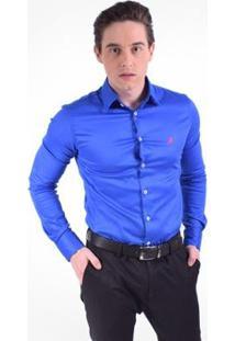 Camisa Social Masculina - Super Slim - Masculino-Azul