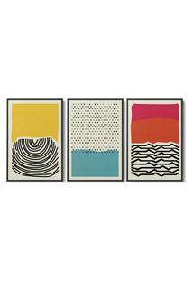 Quadro 75X150Cm Abstrato Colorido Artelana Moldura Flutuante Filete Preta Decorativo