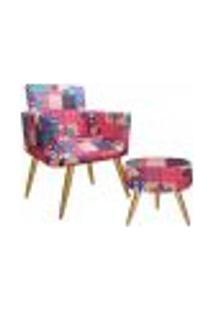 Conjunto Poltrona Decorativa E Puff Redondo Nina Patchwork