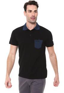 Camisa Polo Mr Kitsch Reta Bolso Preta