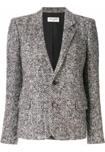 Saint Laurent Herringbone Tweed Jacket - Cinza